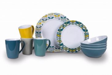 Kampa Dometic Flora Heritage 16 Piece Melamine Dinner Set